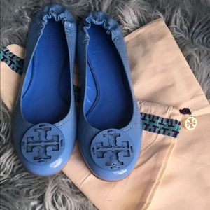 Tory Burch Blue patent leather flats 9.5 NEW!!